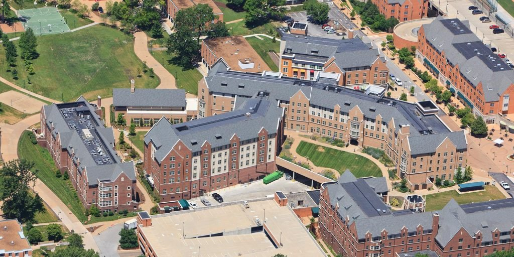 Aerial view of the student village