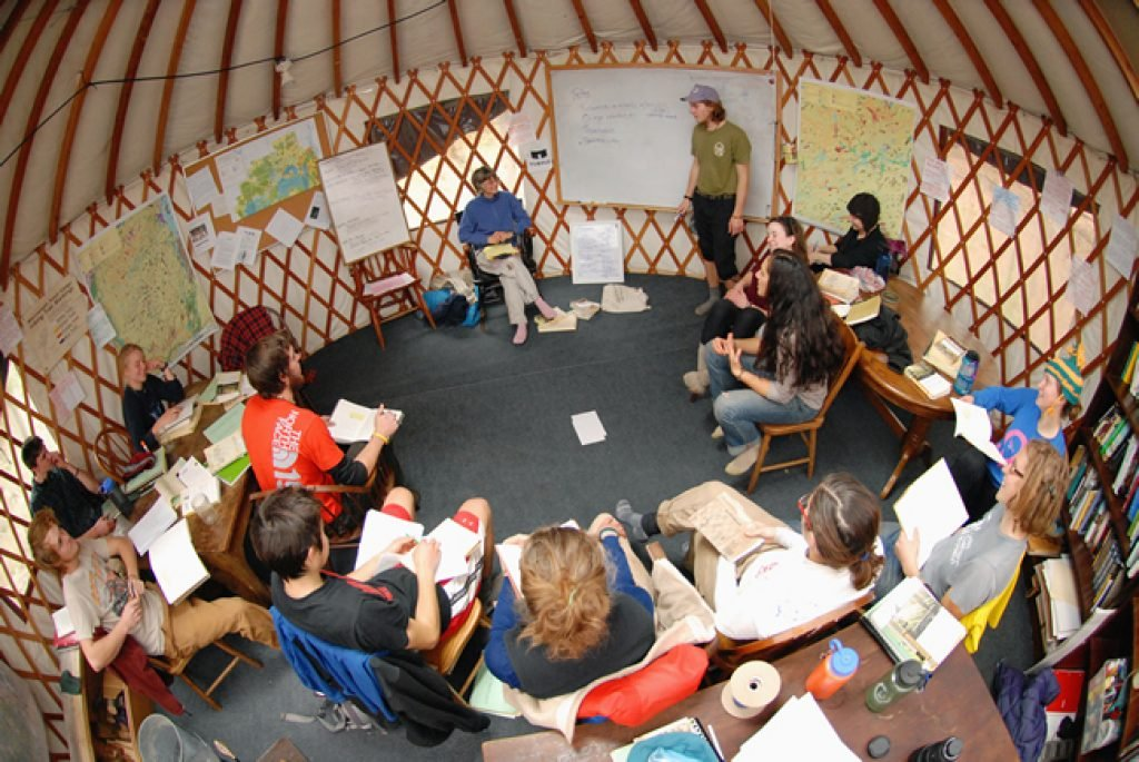 Inside aerial view of the yurt