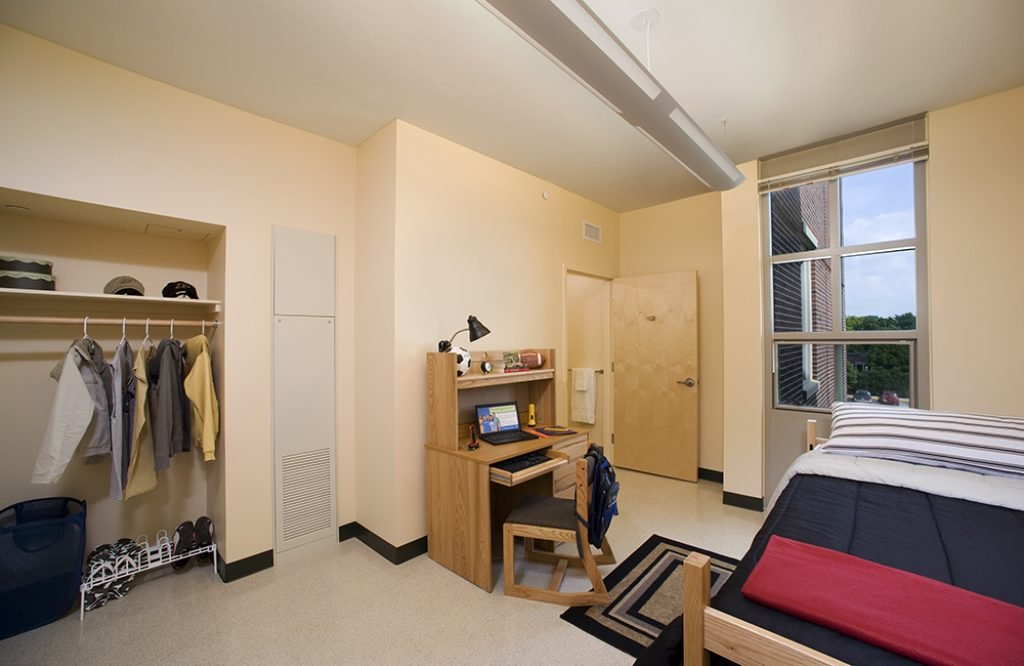 Inside a dorm room at First Street Towers