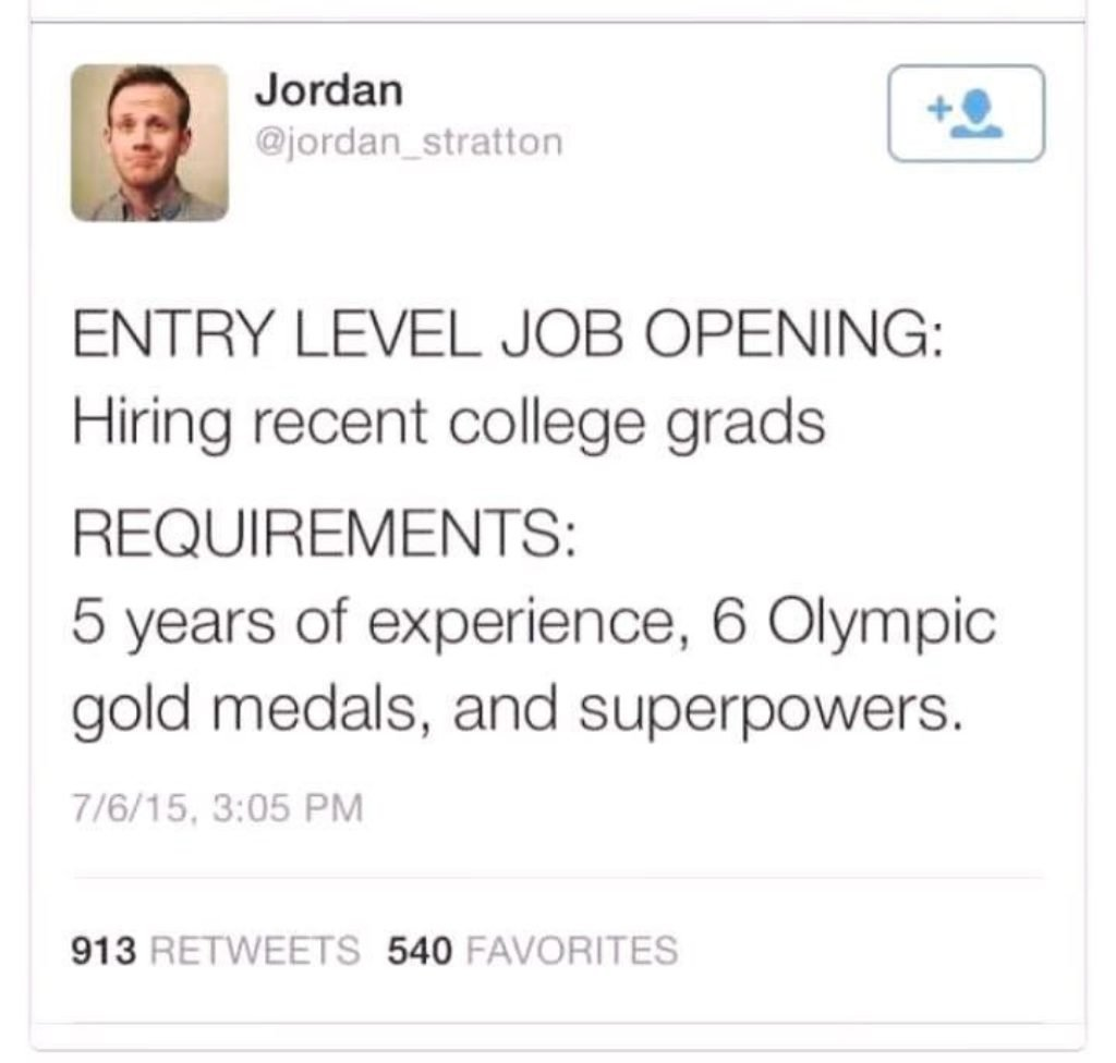 Unfair paradox about entry level jobs never being entry level
