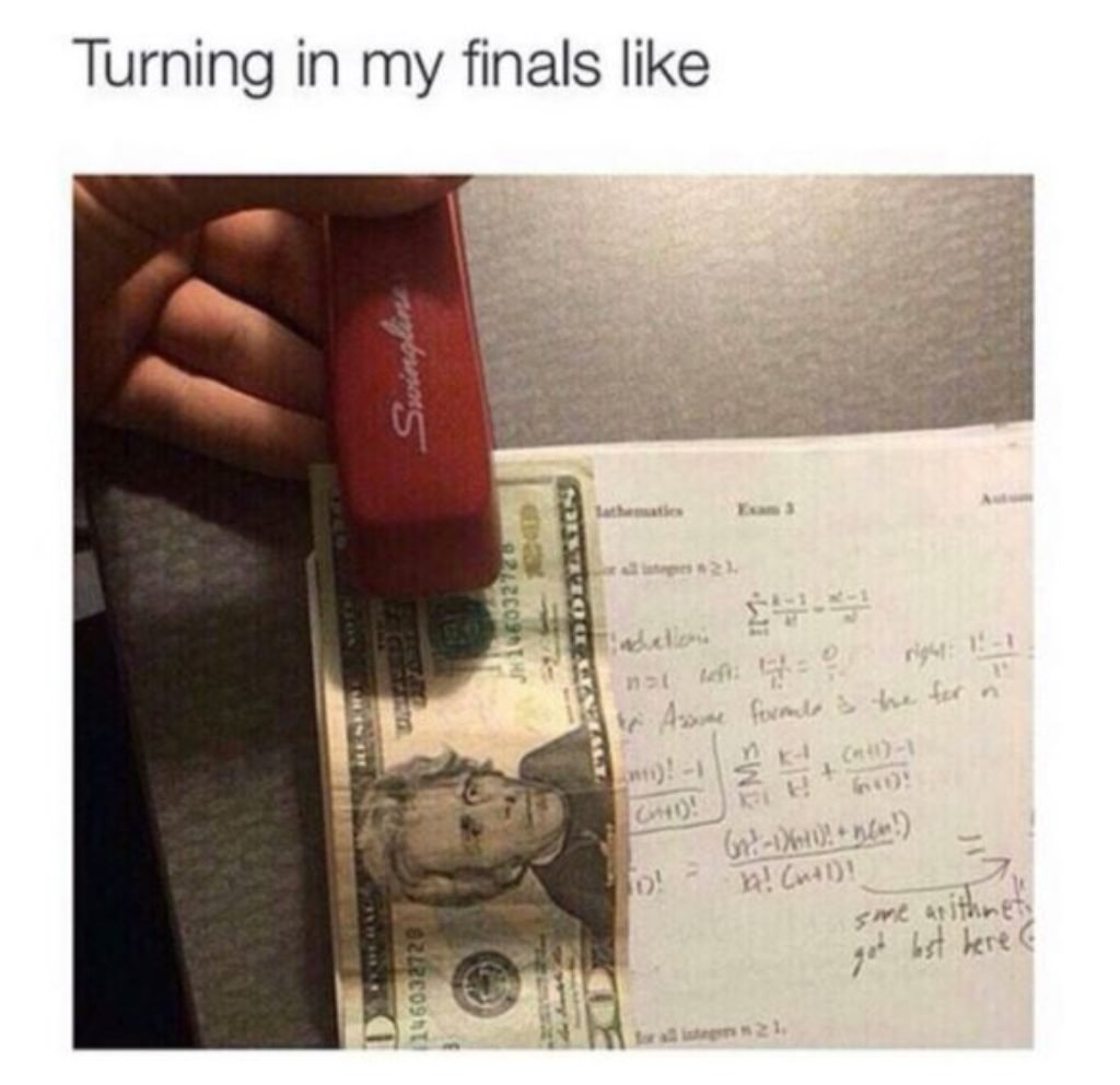 Stapling a $20 to his homework assignment