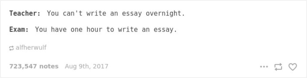 You cant write an essay overnight...except in an hour long test