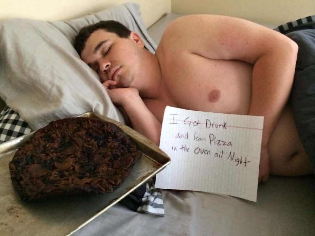 My drunk roommate passed out next to the pizza he almost burned our house down with