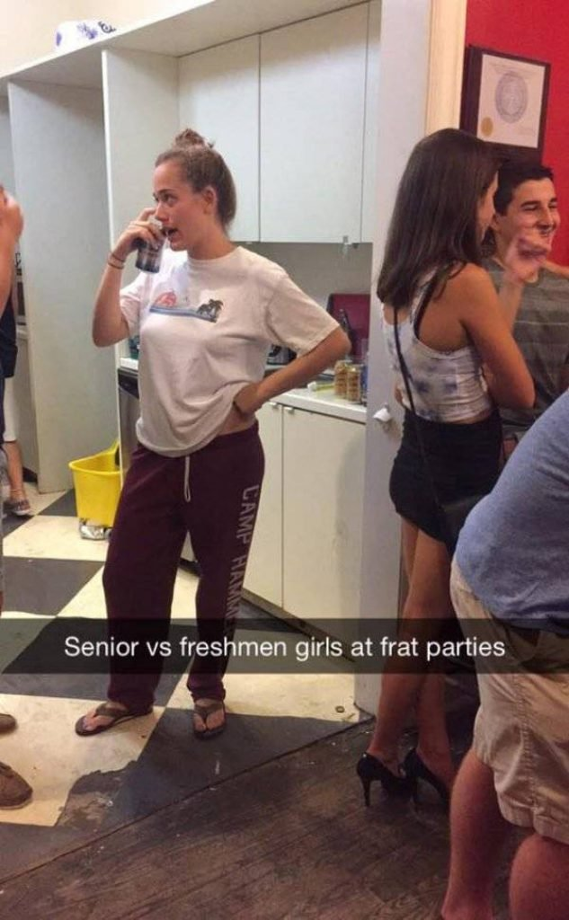 A girl at a party in sweat pants and flip flops
