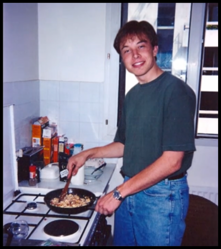 College age Elon Musk cooking