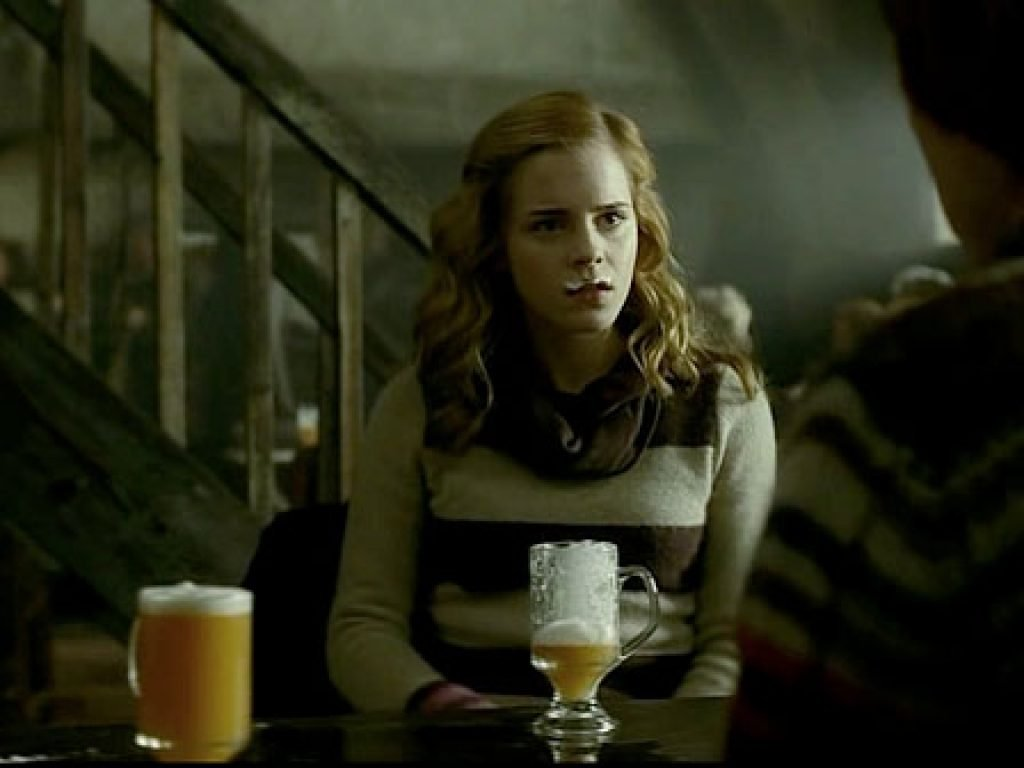 Hermione with a Butterbeer foam mustache