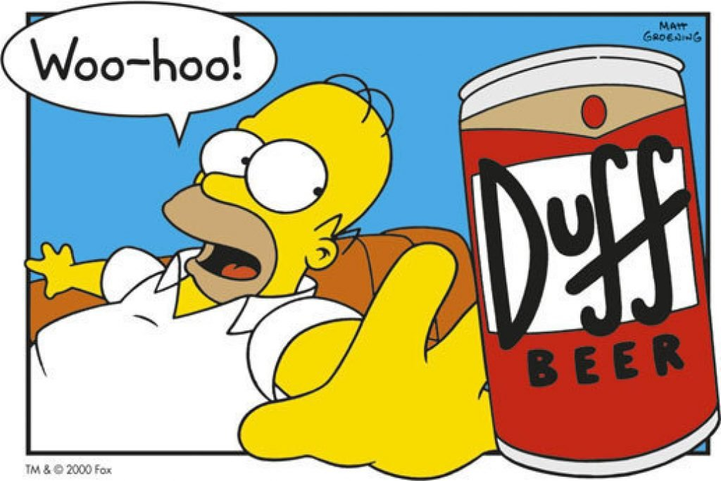 Homer reaching for a Duff Beer
