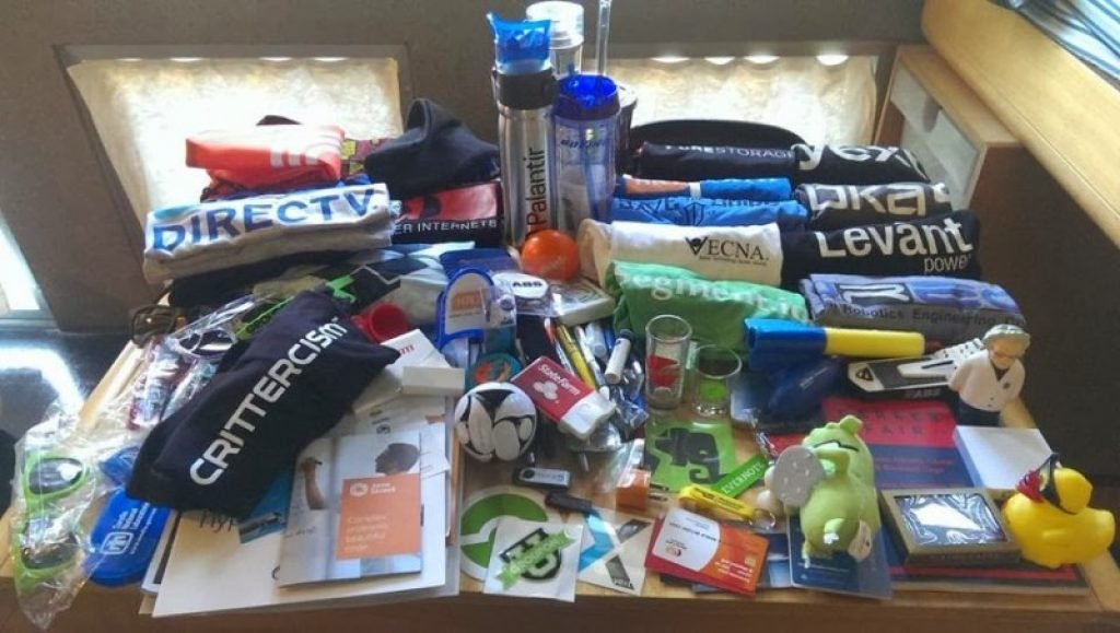 A huge pile of free swag from events