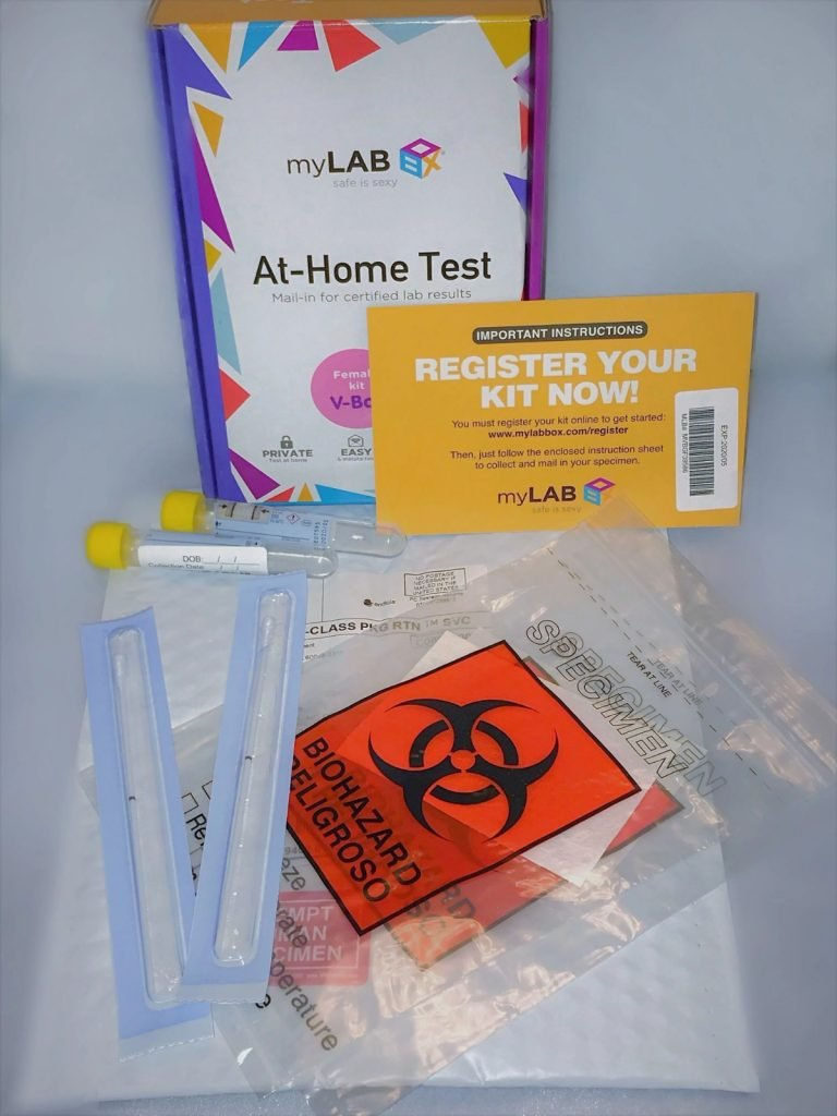 At-home STD test kit unboxed