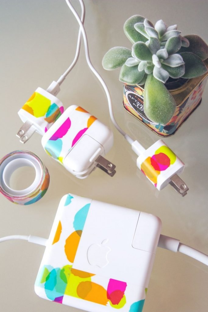Cover Your Chargers In Colorful Washi Tape