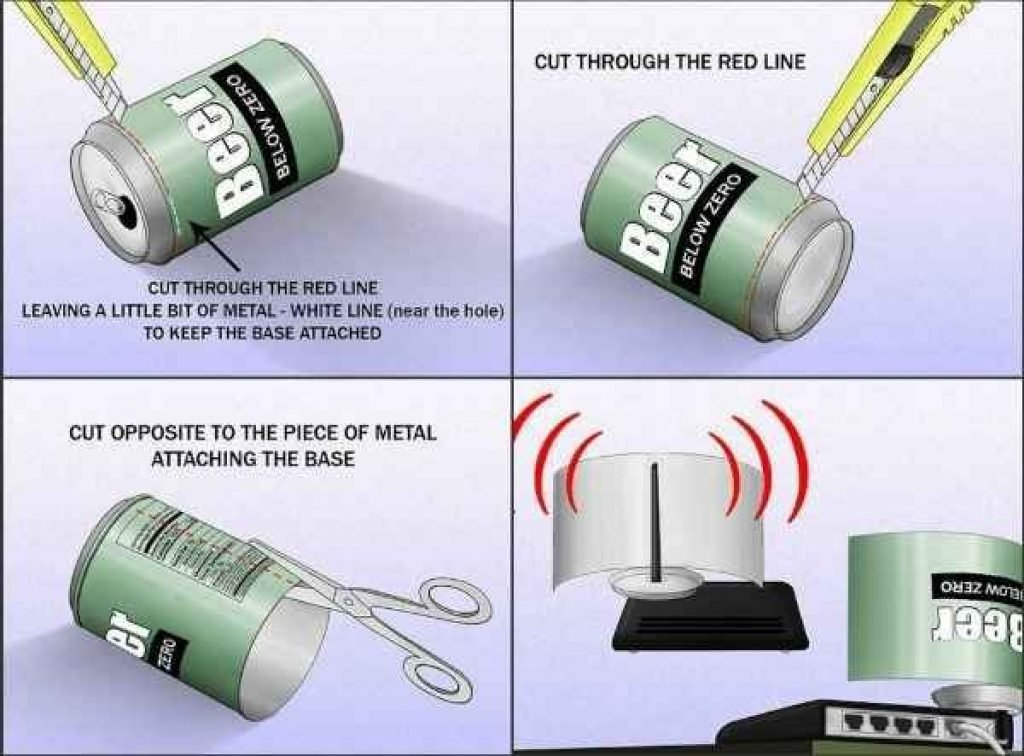 Beer can trick to boost your wifi