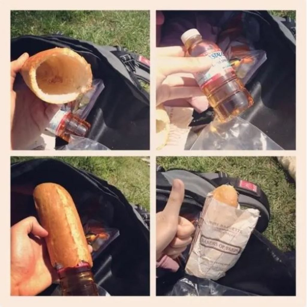 Sneaking liquor in with bread