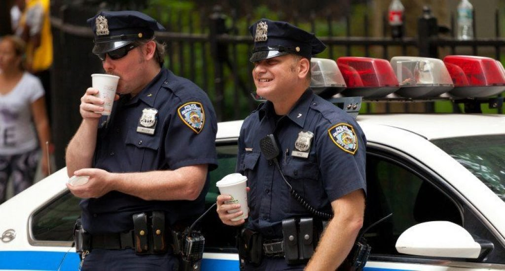 Cops drinking coffee