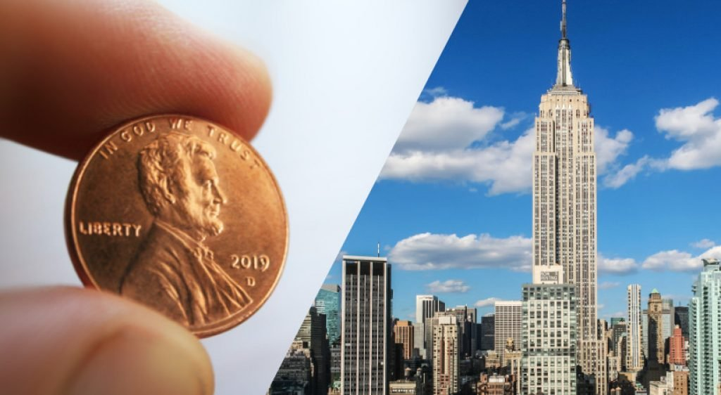 A penny and the Empire State Building
