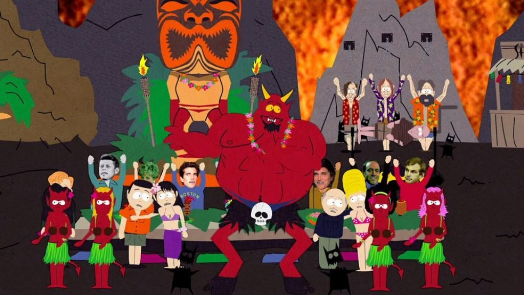 Satan from South Park having a Luau in hell