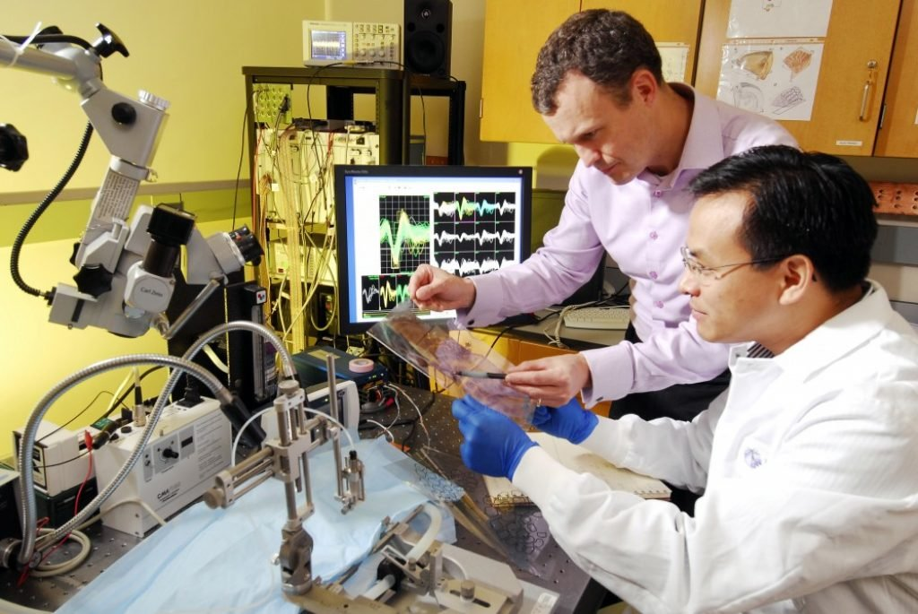 Biomedical engineers working on a new technology
