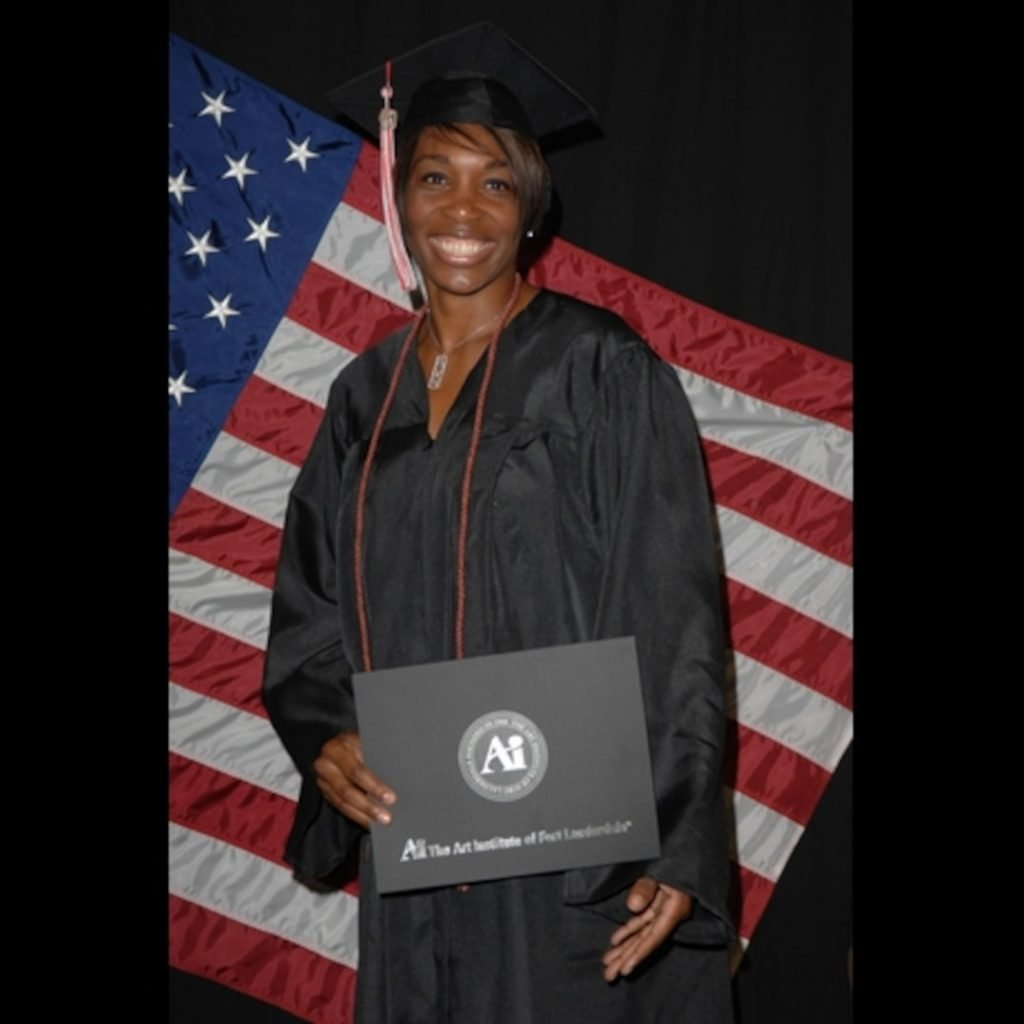 Serena Williams earning her degree from the Art Institute of Fort Lauderdale