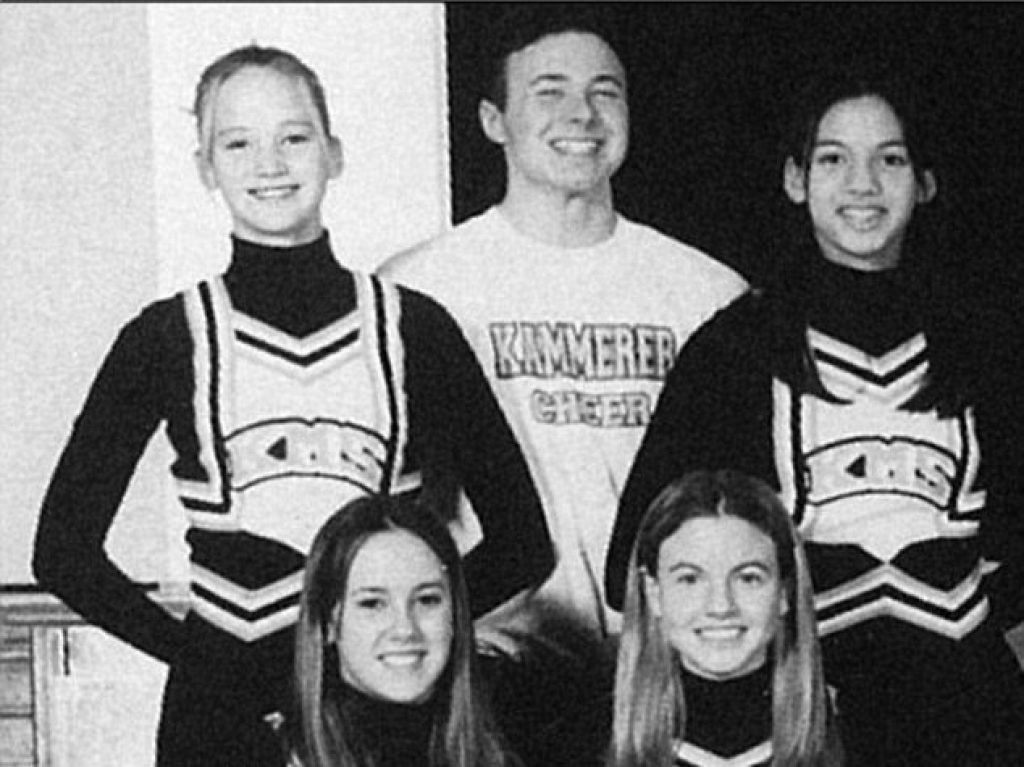 Jennifer Lawrence with her cheer squad