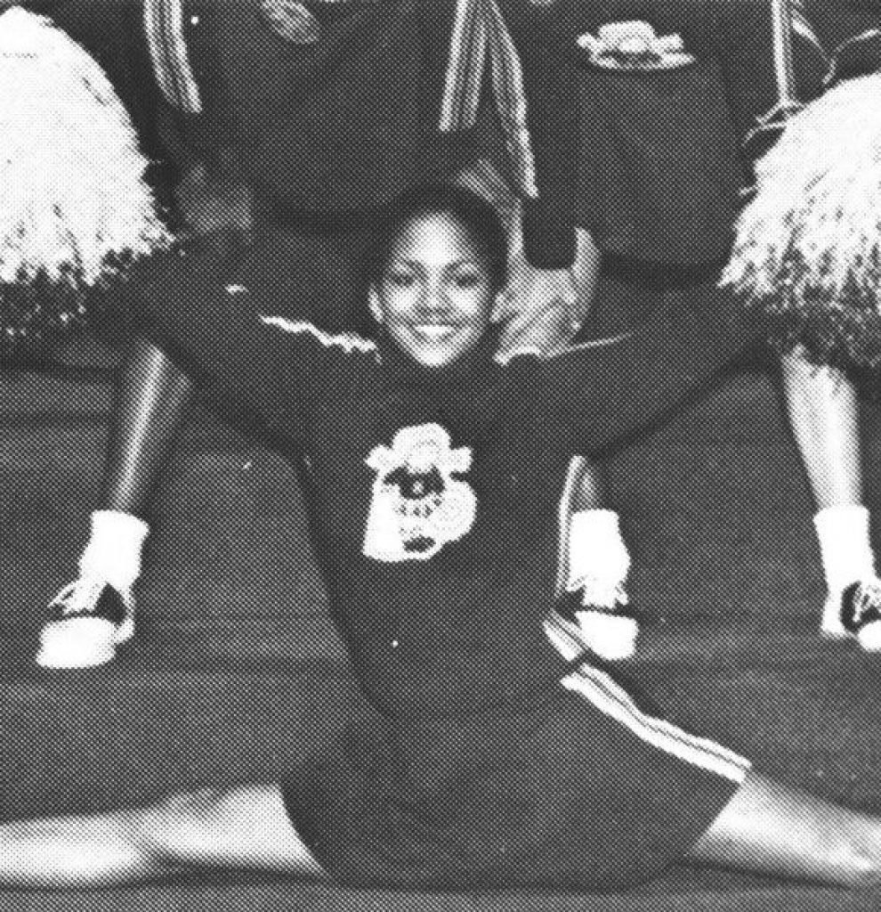 Hallie Berry in a split as a cheerleader