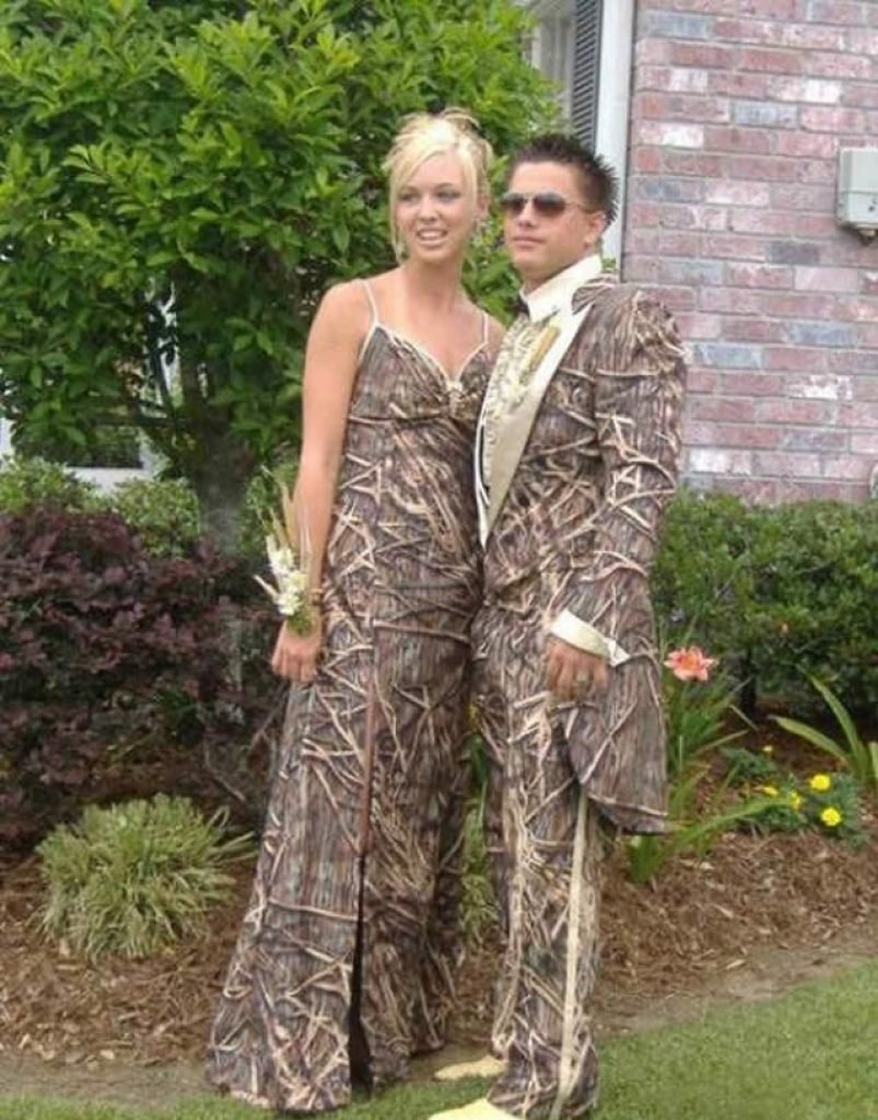 Camo prom dress and matching suit