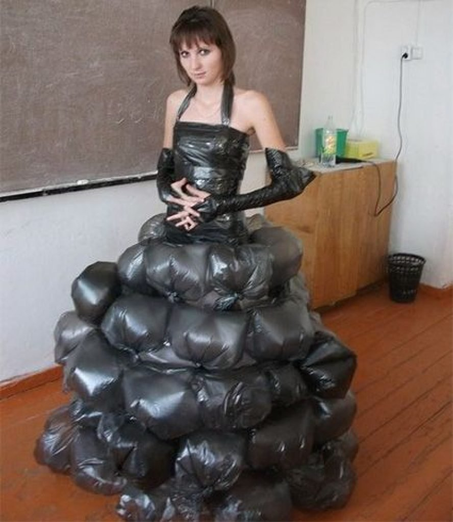 A dress made of trash bags