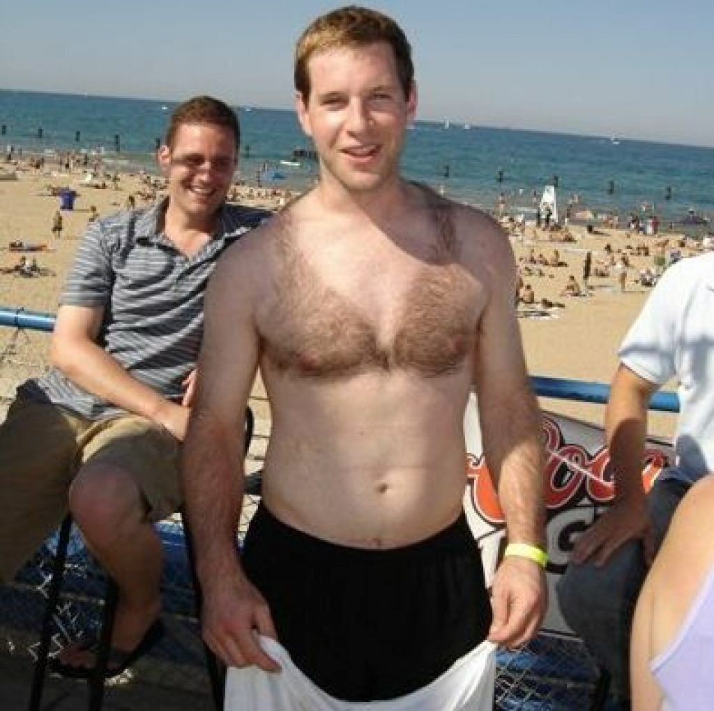 Guy shaved his chest into a bikini