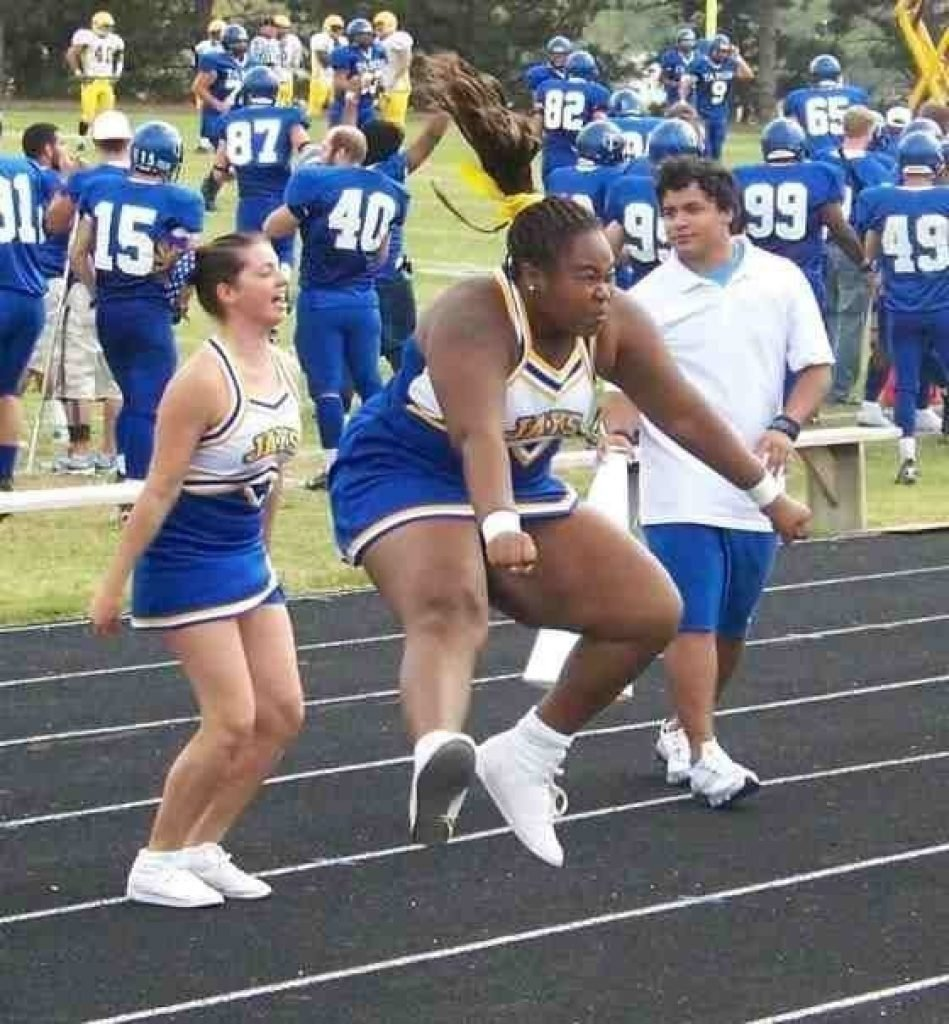 Cheerleader unable to jump high enough