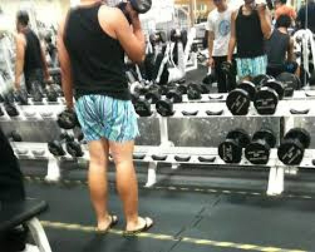 Guy wearing boxer shorts at the gym