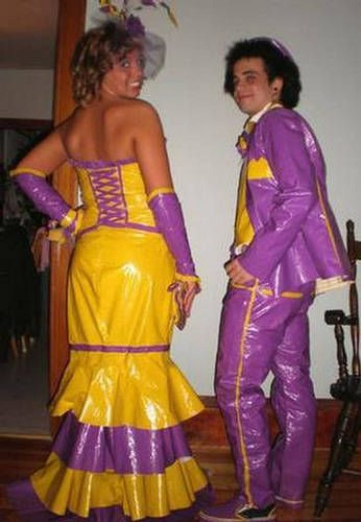Purple and yellow prom suit and dress
