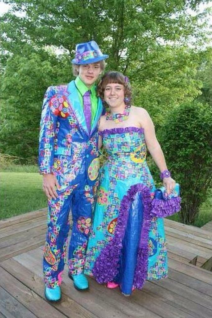 Colorful video game lookin prom dress and suit