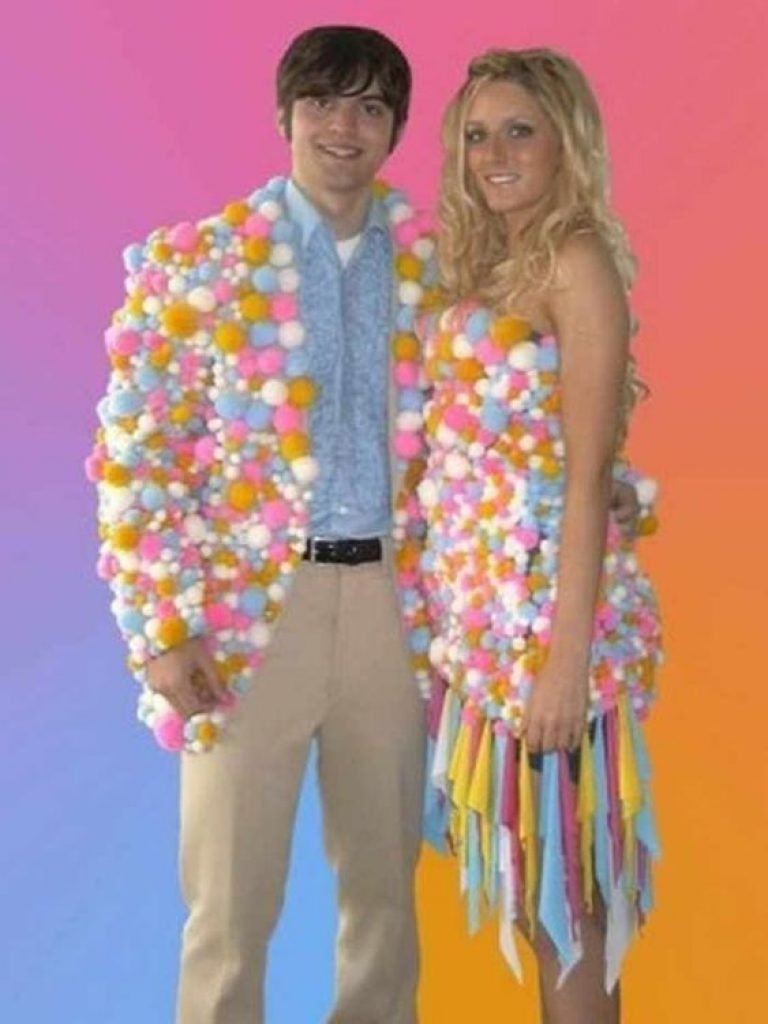 Prom outfit made out of rainbow cotton balls