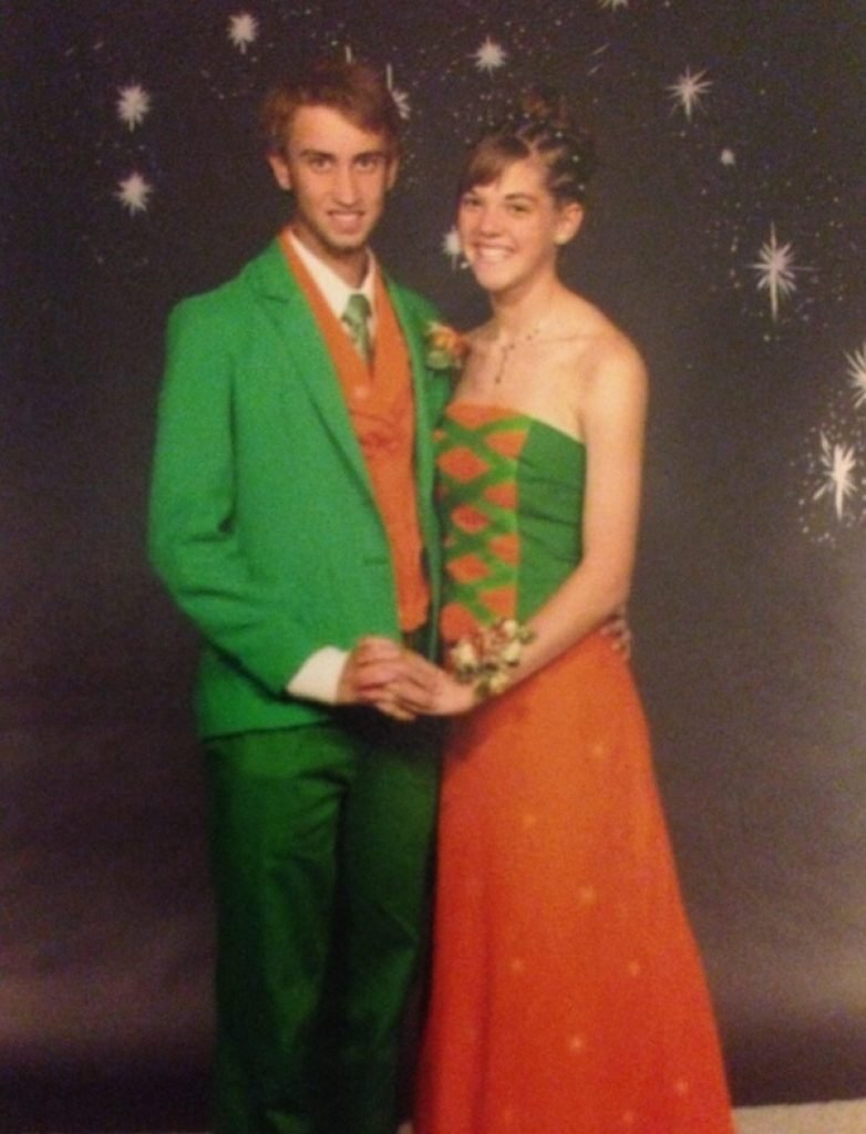 Green and orange prom outfits