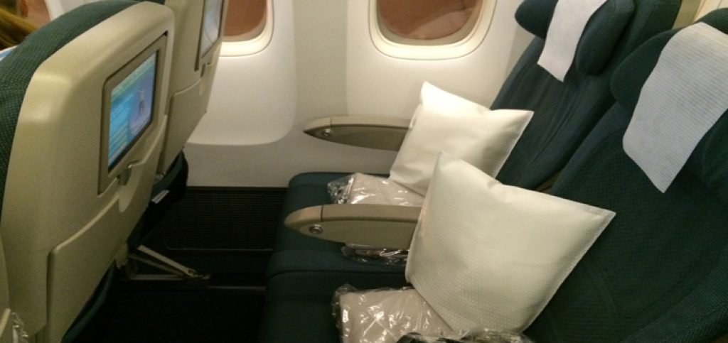 blanket and pillow on the seat